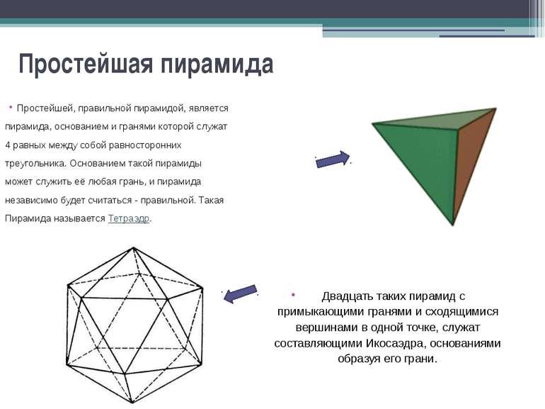 Простейшая пирамида Простейшей, правильной пирамидой, является пирамида, осно...