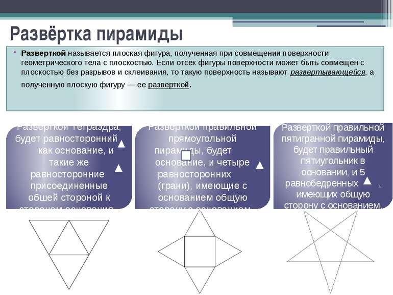 Развёртка пирамиды Разверткой называется плоская фигура, полученная при совме...