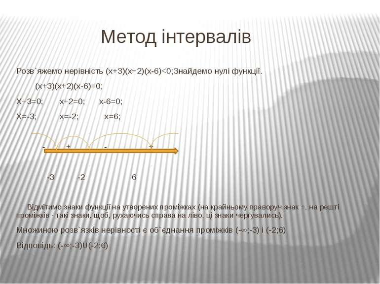 Метод інтервалів Розв`яжемо нерівність (х+3)(х+2)(х-6)