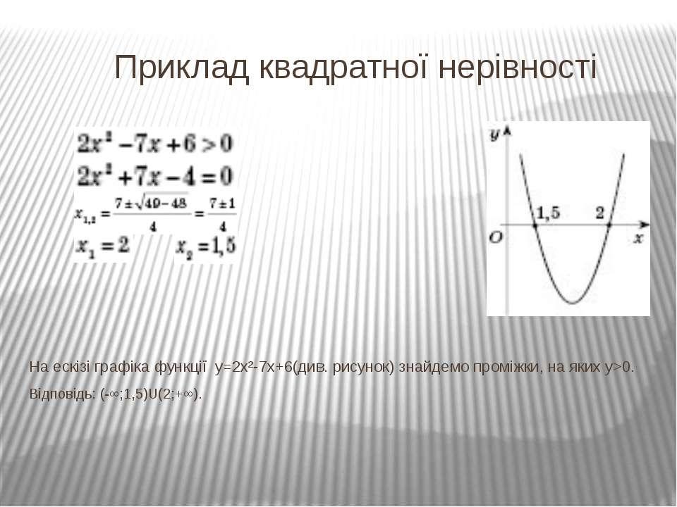 Приклад квадратної нерівності На ескізі графіка функції у=2х²-7х+6(див. рисун...
