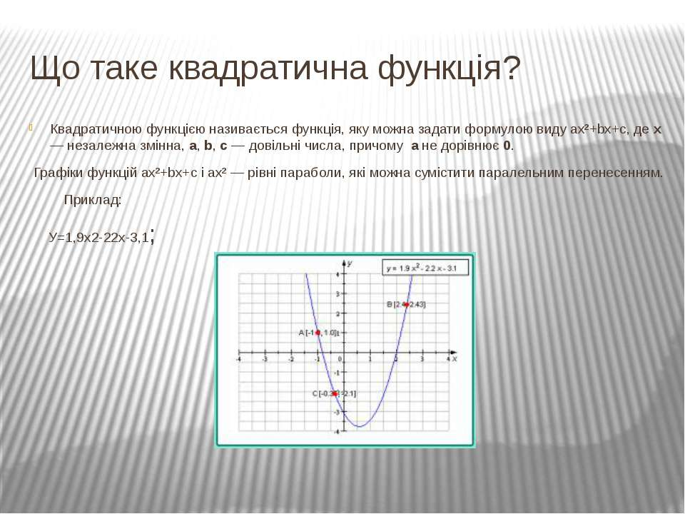 Що таке квадратична функція? Квадратичною функцією називається функція, яку м...