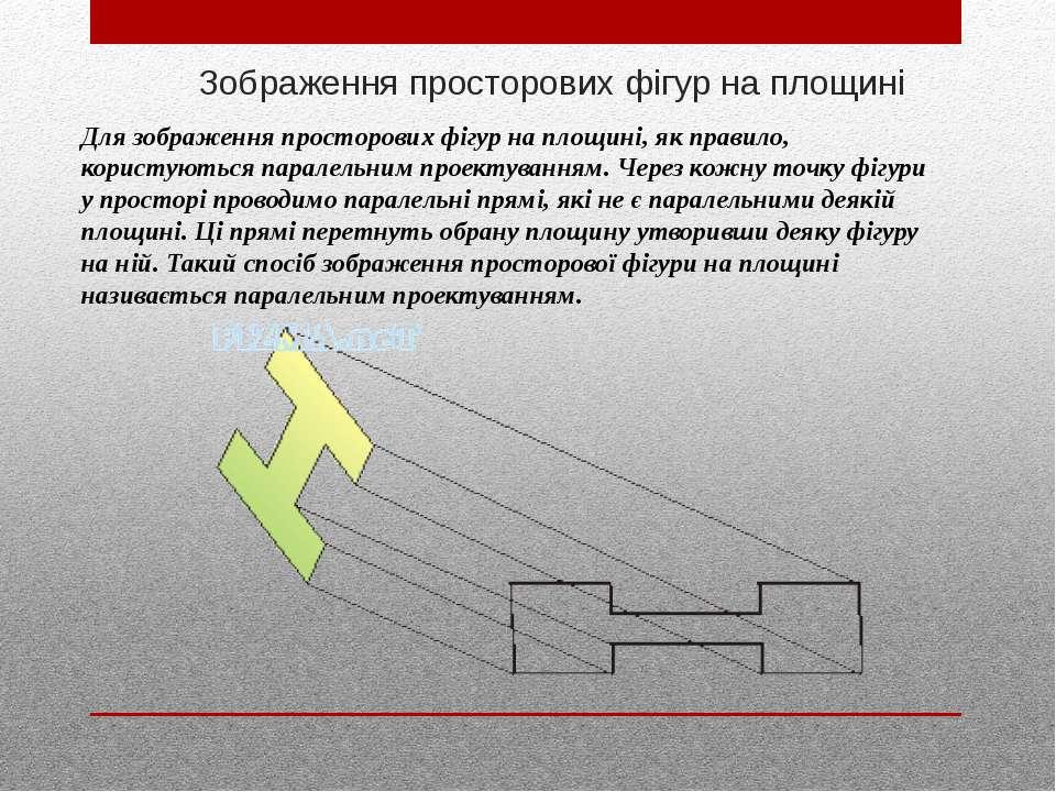 Зображення просторових фігур на площині Для зображення просторових фігур на п...