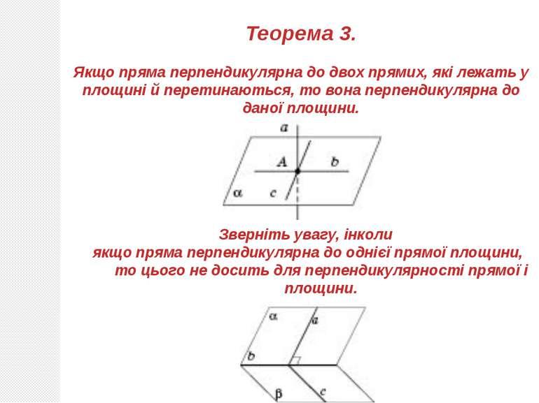 Теорема 3. Якщо пряма перпендикулярна до двох прямих, які лежать у площині й ...