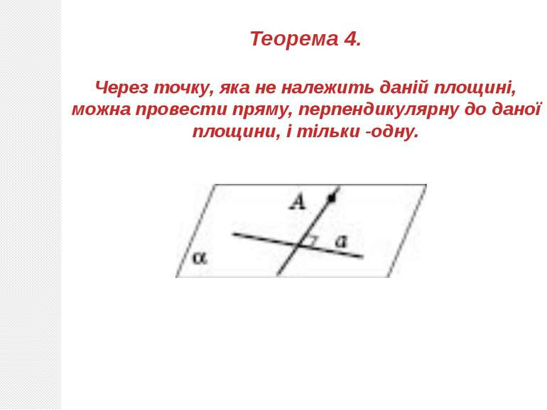 Теорема 4. Через точку, яка не належить даній площині, можна провести пряму, ...