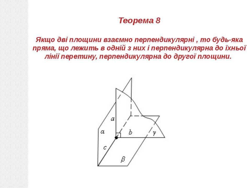 Теорема 8 Якщо дві площини взаємно перпендикулярні , то будь-яка пряма, що ле...
