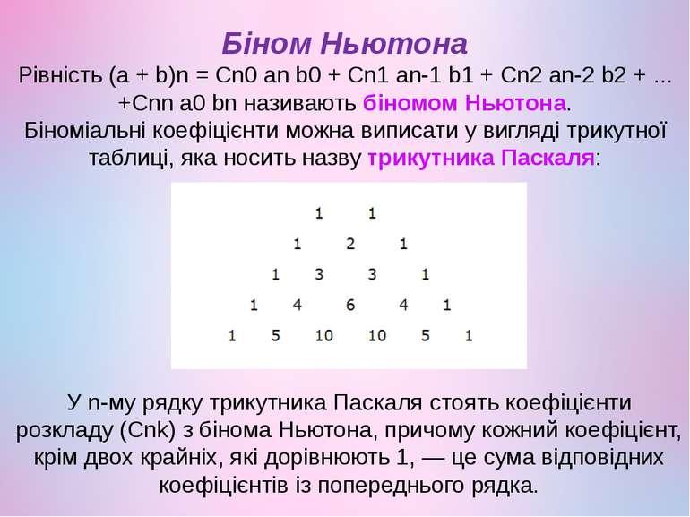 Біном Ньютона Рівність (a + b)n= Cn0anb0+ Cn1an-1b1+ Cn2an-2b2+ ......