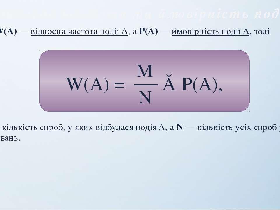 Відносна частота та ймовірність події Нехай W(A) — вiдносна частота подiї A, ...