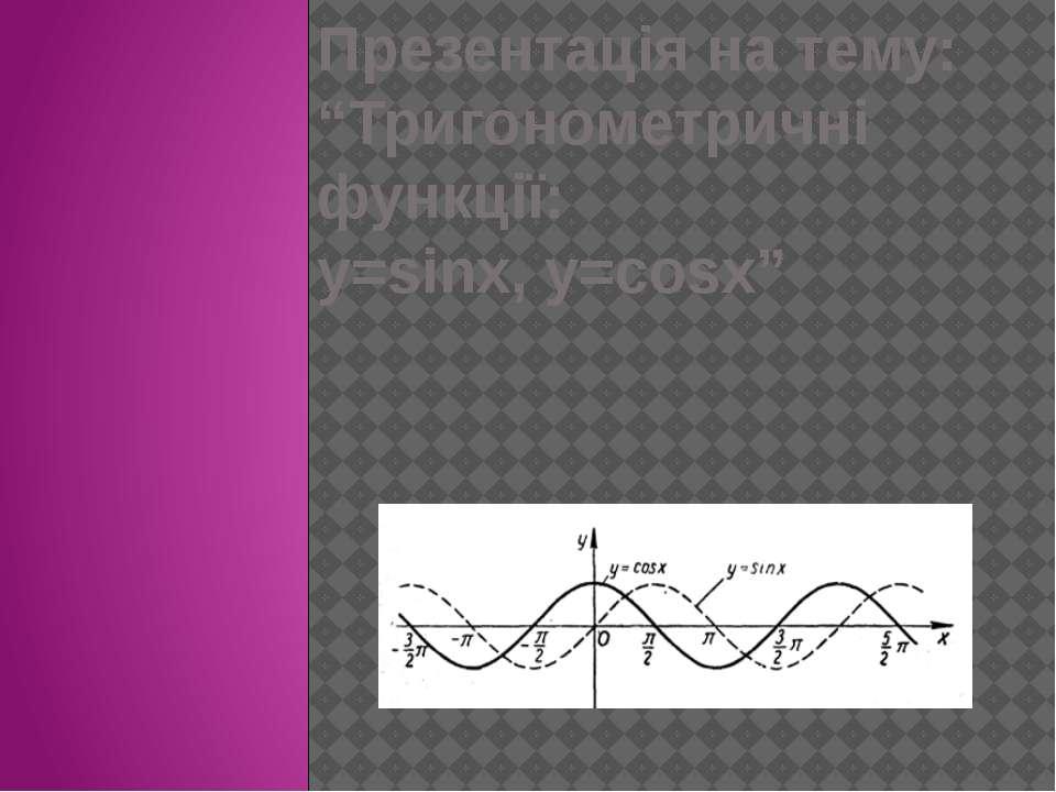 """Презентація на тему: """"Тригонометричні функції: y=sinx, y=cosx"""""""