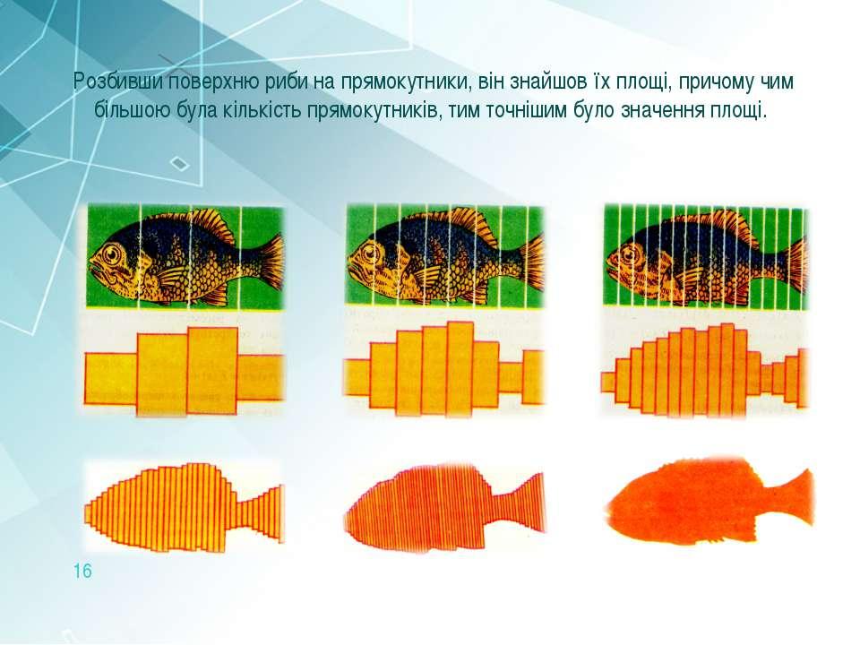 Розбивши поверхню риби на прямокутники, він знайшов їх площі, причому чим біл...