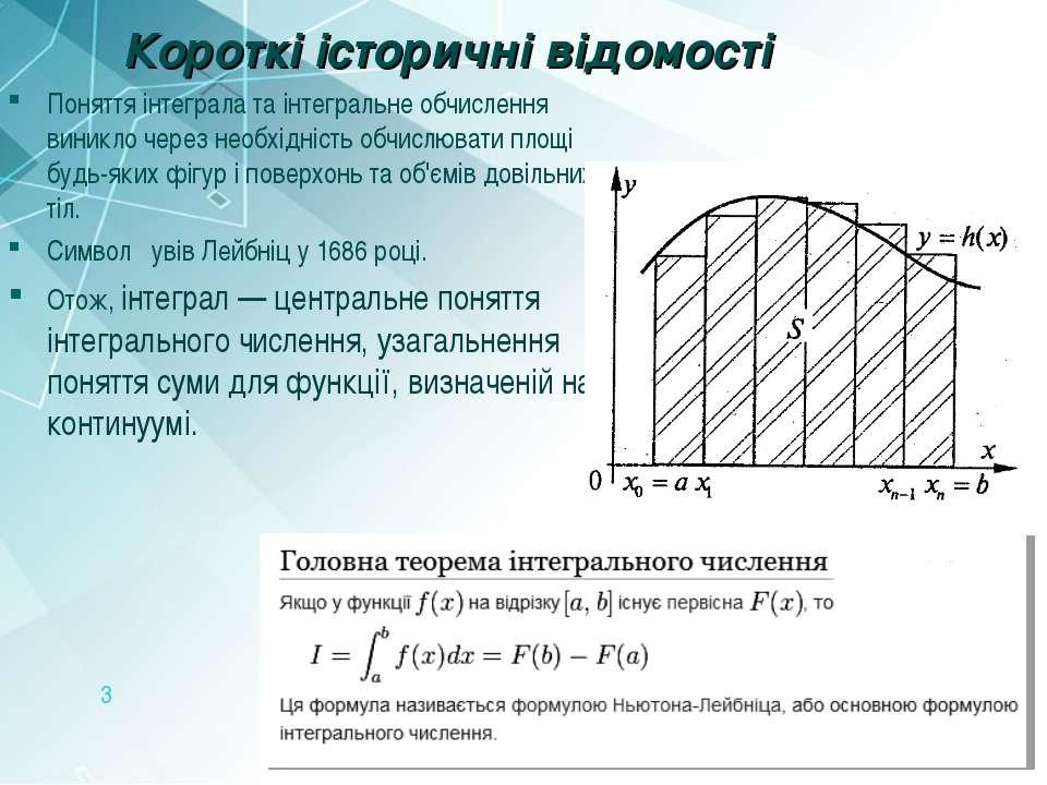 Короткі історичні відомості Поняття інтеграла та інтегральне обчислення виник...