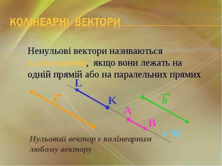 Нульовий вектор є колінеарним любому вектору Ненульові вектори називаються ко...