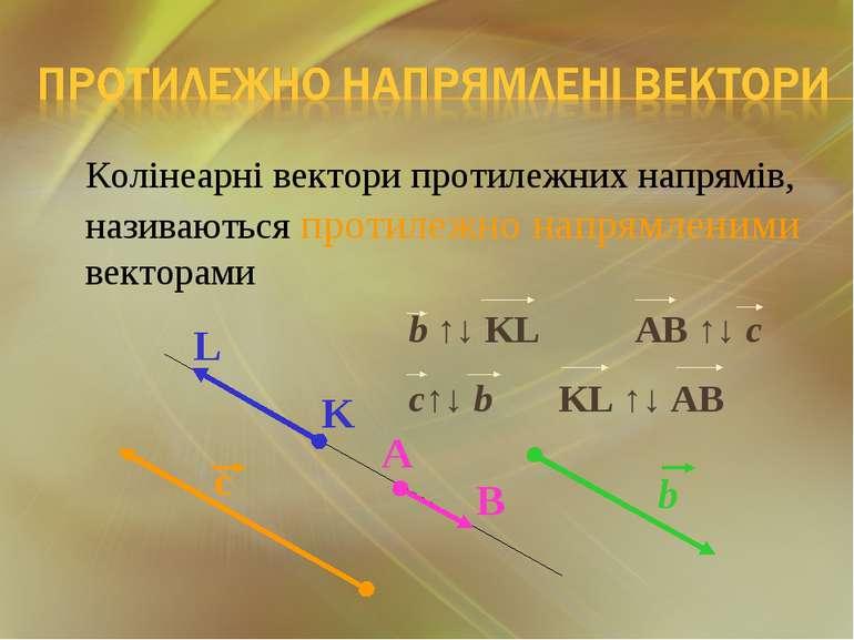Колінеарні вектори протилежних напрямів, називаються протилежно напрямленими ...