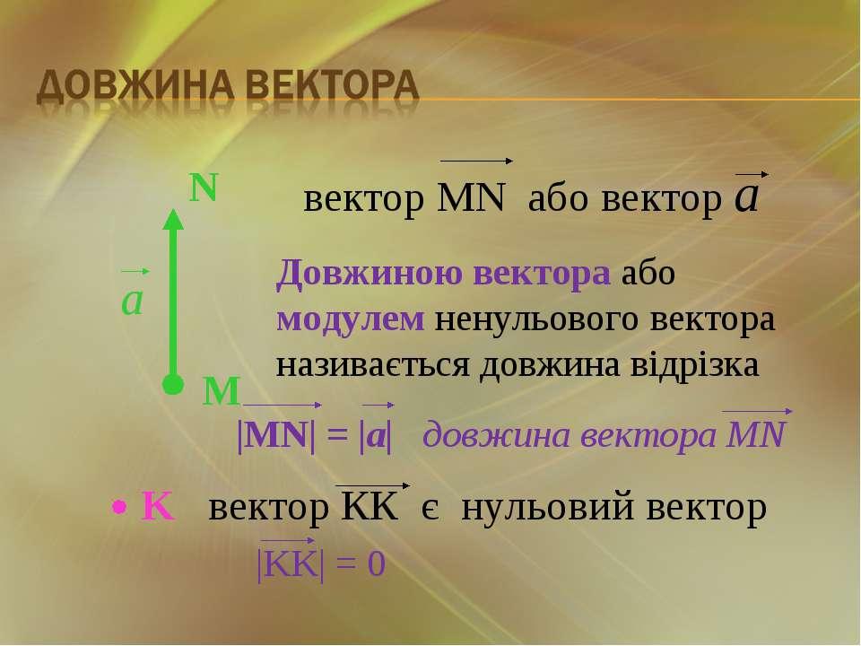 Довжиною вектора або модулем ненульового вектора називається довжина відрізка