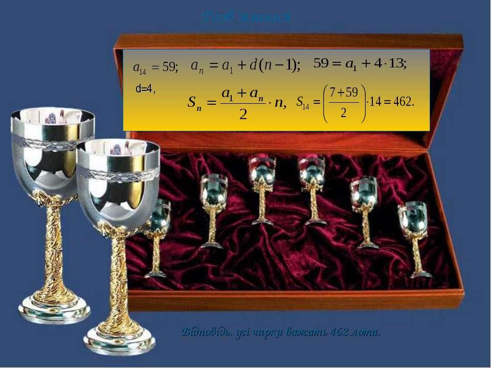 Розв'язання Відповідь. усі чарки важать 462 лота. d=4,