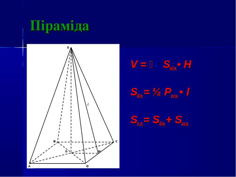 Піраміда V = ⅓ Sосн.• H Sбіч.= ½ Pосн. • l Sп.п.= Sбіч.+ Sосн.