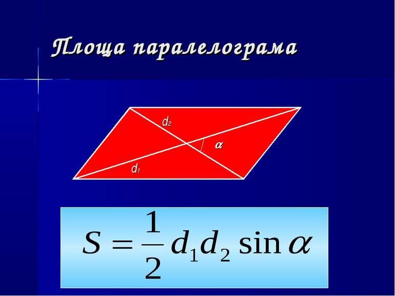 Площа паралелограма d1 d2