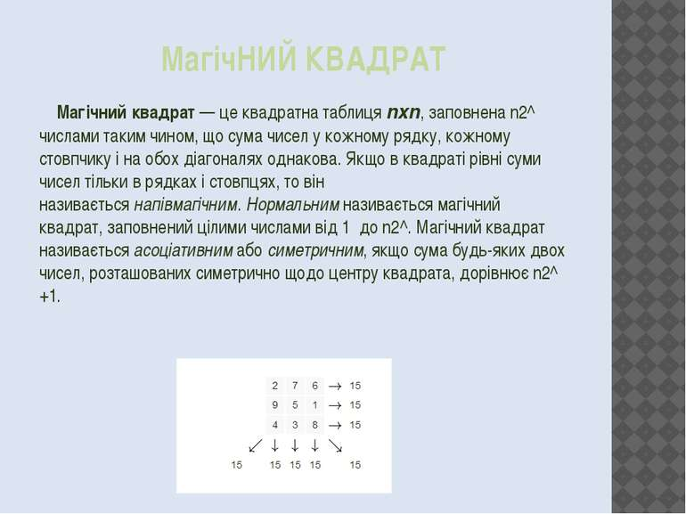 МагічНИЙ КВАДРАТ Магічний квадрат— це квадратна таблицяnxn, заповнена n2^ ч...