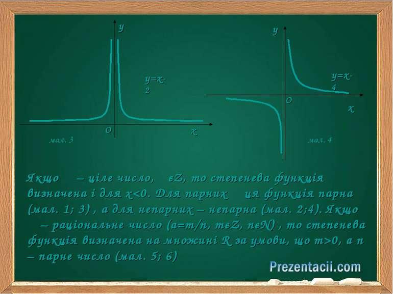 Якщо α – ціле число, αєZ, то степенева функція визначена і для х0, a n – парн...