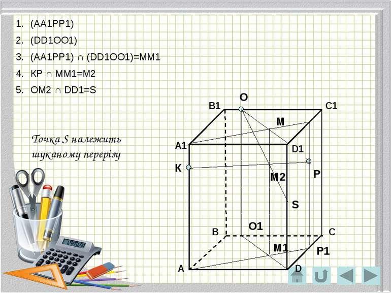 О Р К Р1 О1 М М1 М2 S (АА1РР1) (DD1ОО1) (АА1РР1) ∩ (DD1ОО1)=ММ1 КР ∩ ММ1=М2 О...