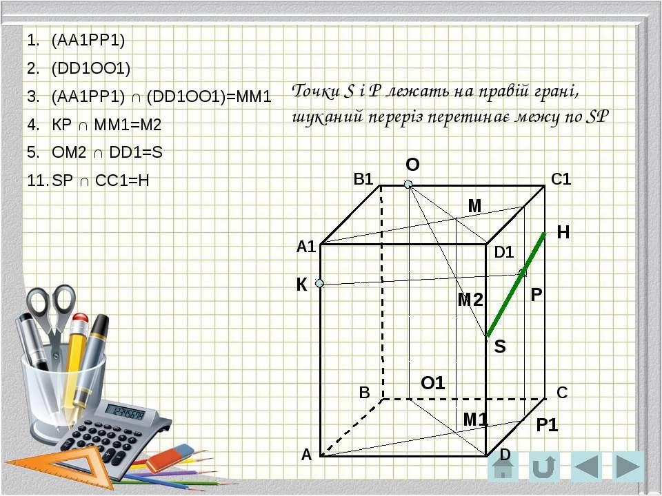 О Р К Р1 О1 М М1 М2 S H Точки O і H лежать на задній грані, шуканий переріз п...