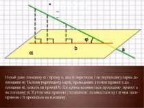 Нехай дано площину і пряму а, яка її перетинає і не перпендикулярна до площин...