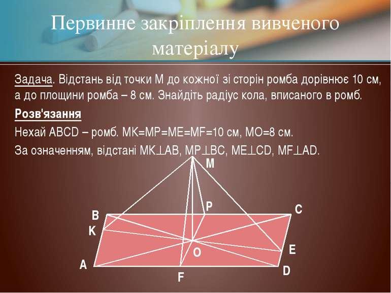 Первинне закріплення вивченого матеріалу Задача. Відстань від точки М до кожн...