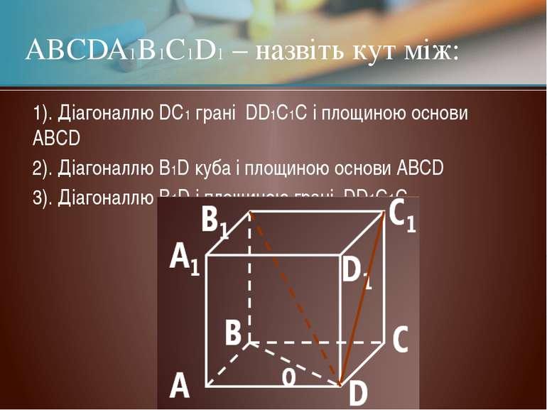 1). Діагоналлю DC1 грані DD1C1C і площиною основи ABCD 2). Діагоналлю B1D куб...