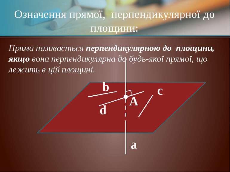 α a A b c d Означення прямої, перпендикулярної до площини: Пряма називається ...
