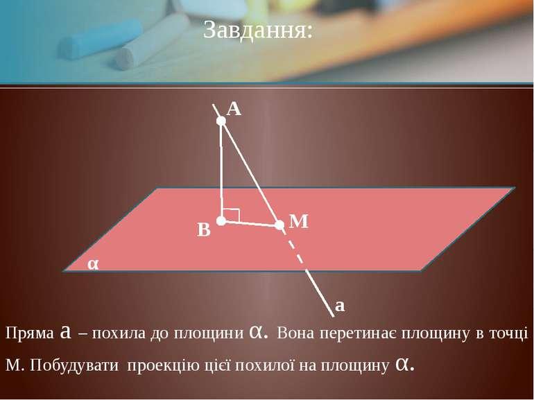 М α А В Завдання: а Пряма a – похила до площини α. Вона перетинає площину в т...