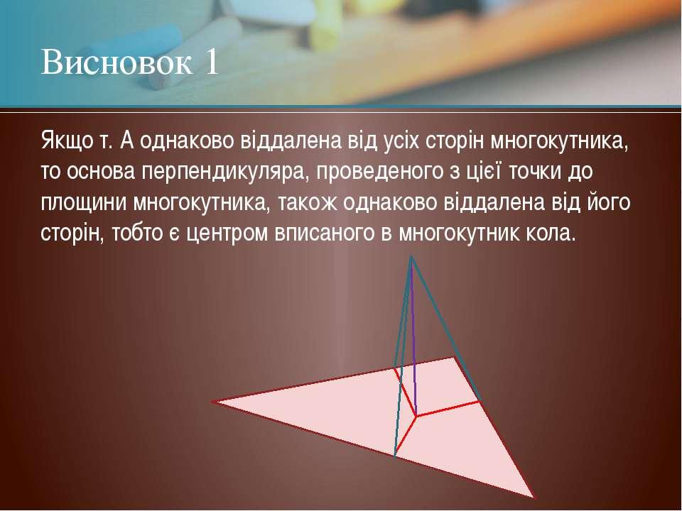 Висновок 1 Якщо т. А однаково віддалена від усіх сторін многокутника, то осно...