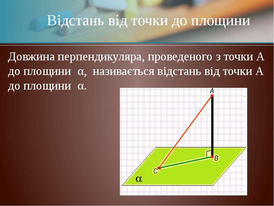 Відстань від точки до площини Довжина перпендикуляра, проведеного з точки А д...