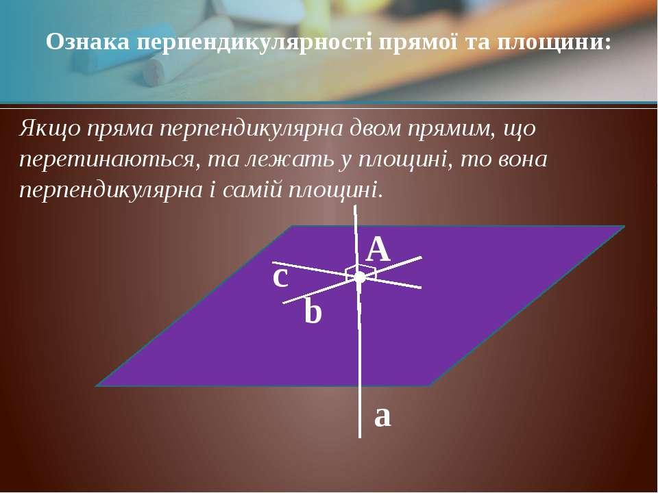 α a A b c Якщо пряма перпендикулярна двом прямим, що перетинаються, та лежать...