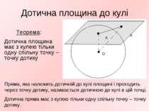 Дотична площина до кулі Теорема: Дотична площина має з кулею тільки одну спіл...