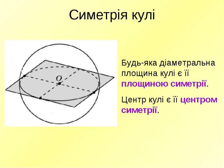 Симетрія кулі Будь-яка діаметральна площина кулі є її площиною симетрії. Цент...
