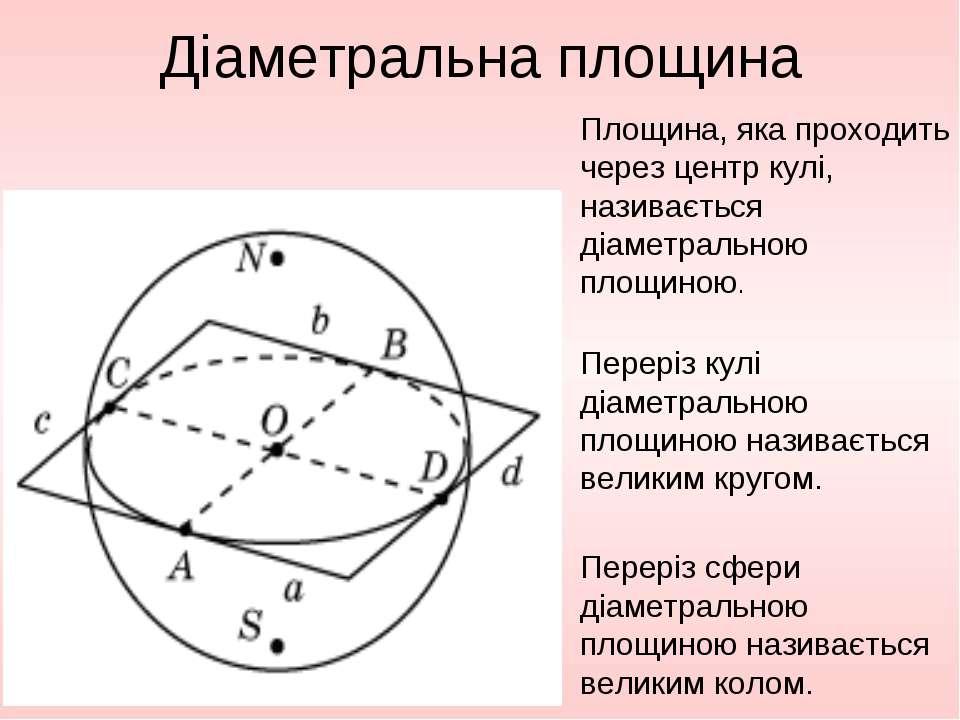 Діаметральна площина Площина, яка проходить через центр кулі, називається діа...