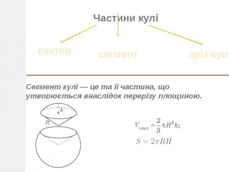 Частини кулі Сегмент кулі— це та її частина, що утворюється внаслідок перері...