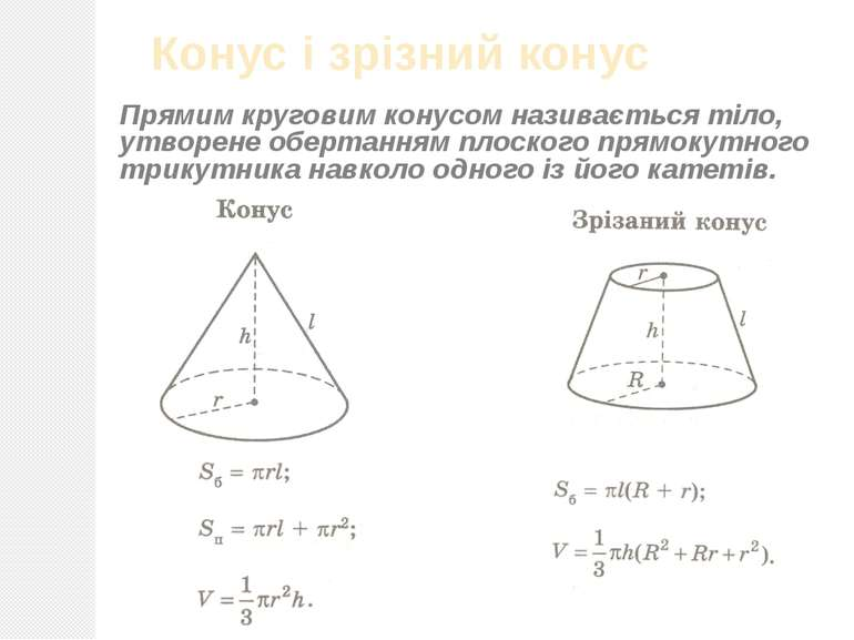 Конус і зрізний конус Прямим круговим конусом називається тіло, утворене обер...