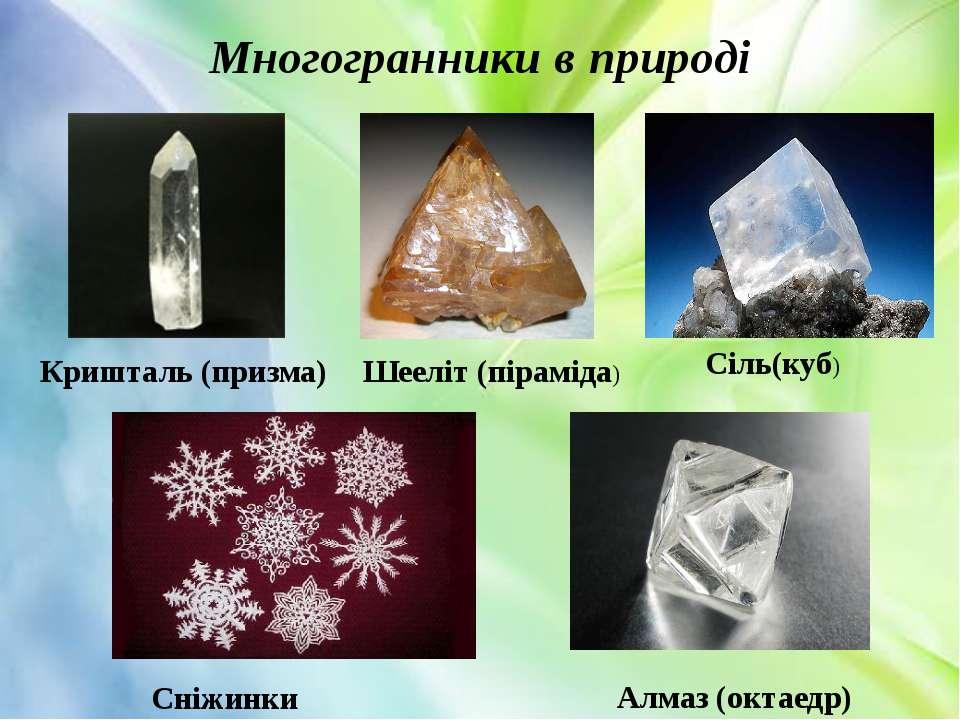 Многогранники в природі Сніжинки Алмаз (октаедр) Кришталь (призма) Шееліт (пі...