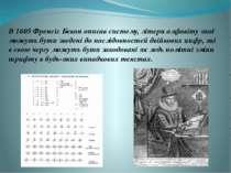 В 1605 Френсіс Бекон описав систему, літери алфавіту якої можуть бути зведені...