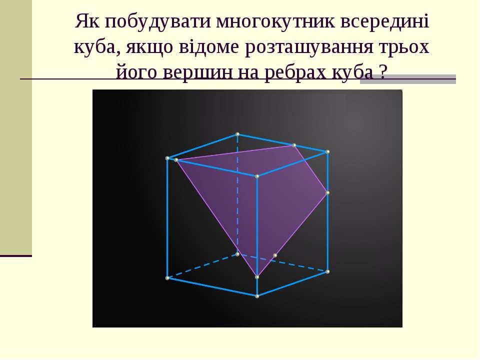 Як побудувати многокутник всередині куба, якщо відоме розташування трьох його...