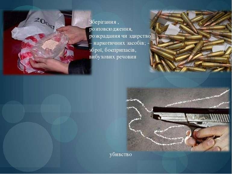 убивство Зберігання , розповсюдження, розкрадання чи здирство – наркотичних з...