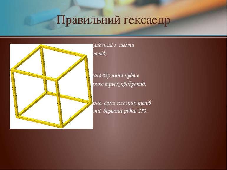 Правильний гексаедр складений з шести квадратів; кожна вершина куба є вершино...
