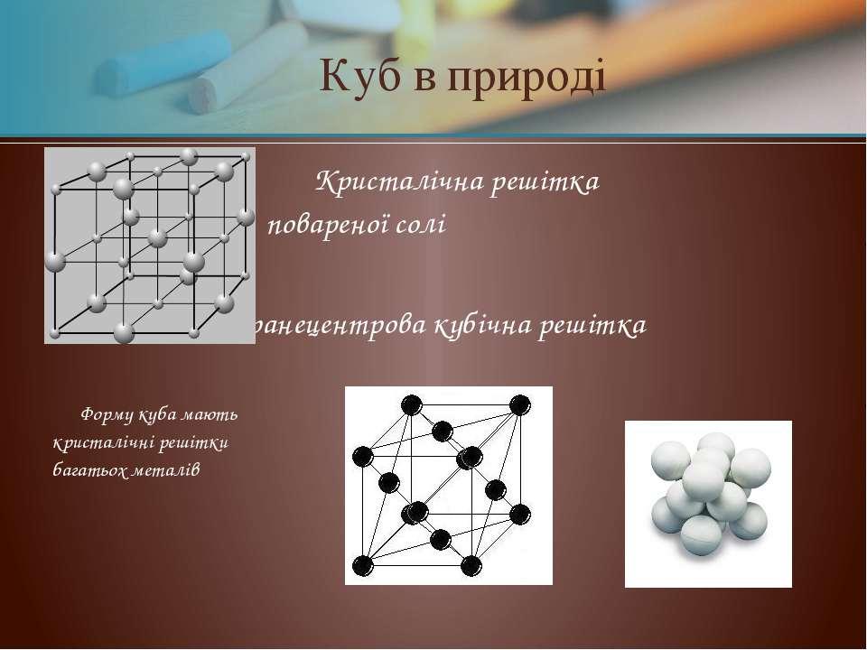 Кристалічна решітка повареної солі гранецентрова кубічна решітка Форму куба м...