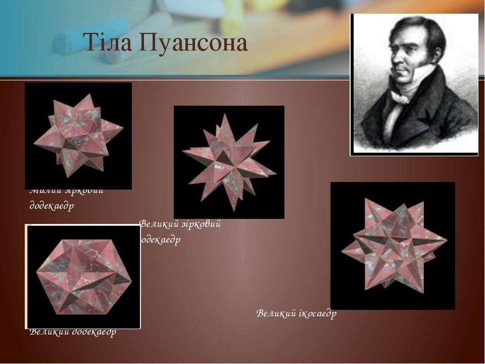Тіла Пуансона Малий зірковий додекаедр Великий зірковий додекаедр Великий іко...