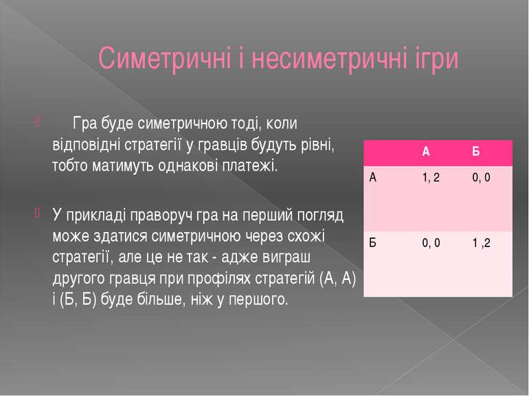 Симетричні і несиметричні ігри Гра буде симетричною тоді, коли відповідні стр...