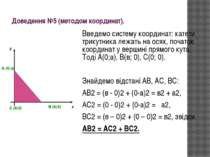 Доведення №5 (методом координат). Введемо систему координат: катети трикутник...