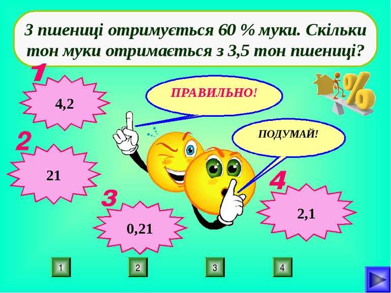4 2 3 1 З пшениці отримується 60 % муки. Скільки тон муки отримається з 3,5 т...