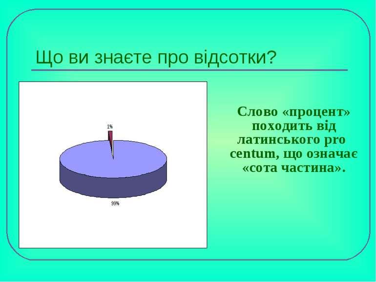 Що ви знаєте про відсотки? Слово «процент» походить від латинського pro centu...