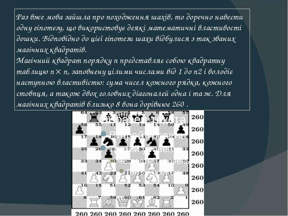 Раз вже мова зайшла про походження шахів, то доречно навести одну гіпотезу, щ...