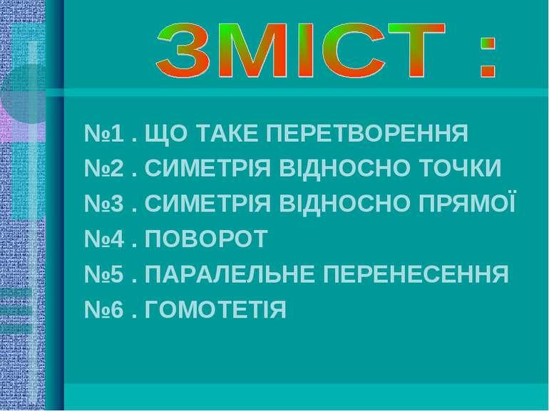 №1 . ЩО ТАКЕ ПЕРЕТВОРЕННЯ №2 . СИМЕТРІЯ ВІДНОСНО ТОЧКИ №3 . СИМЕТРІЯ ВІДНОСНО...